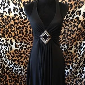 Blk jersey halter beading on front